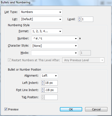 11 - Adding and Formatting Bullets and Numbering in InDesign CS5