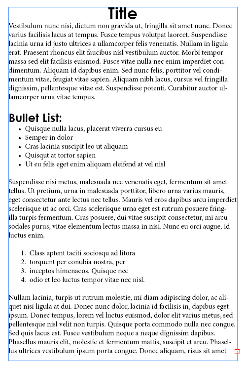 12 - Adding and Formatting Bullets and Numbering in InDesign CS5