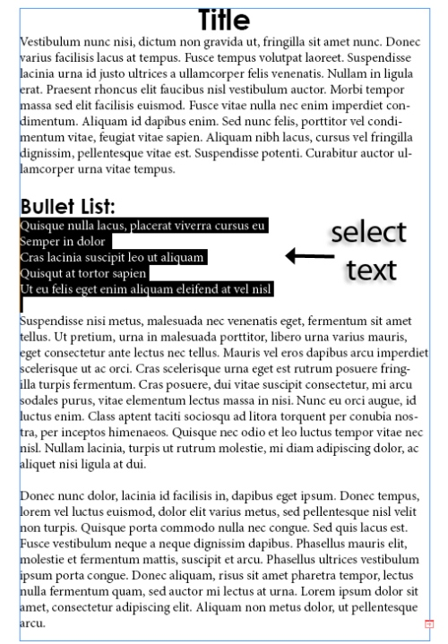 3 - Adding and Formatting Bullets and Numbering in InDesign CS5