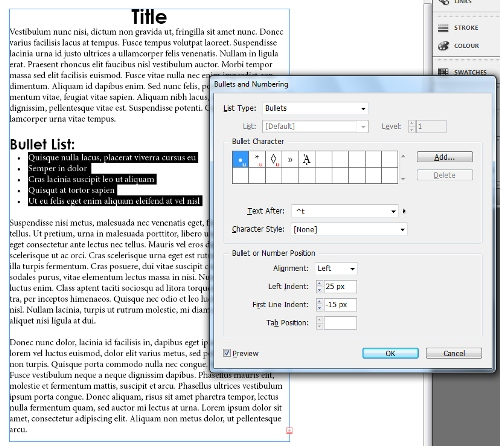 6 - Adding and Formatting Bullets and Numbering in InDesign CS5